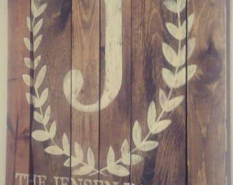 Rustic Wooden Monogram// Floral Wooden Monogram