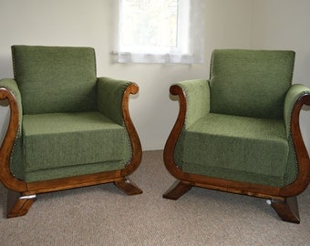 Magnificent Pair of French Art Deco Armchairs