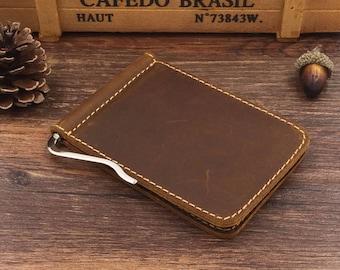 Men's Leather Money Clip Wallet, Personalized Minimalist Wallet, Groomsmen Gift, Boyfriend Gift, Custom Wallet, Mens Gift, Personalized Gift