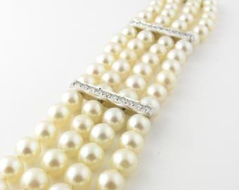 Vintage Platinum Pearl and Diamond Bracelet #2014