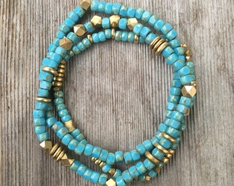 Blue and Brass Bracelet Set
