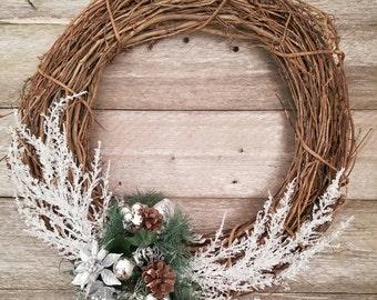 Rustic Holiday Wreath, Christmas Wreath, Wooden Wreath, Grapevine, Mantel Decor, Front Door