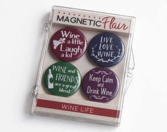Wine Magnet Set, Wine Gifts, Wine Magnets, Wine Lover Gift, Wine Lover, Wine Gifts for Women,Gifts for Her,Kitchen Magnet,Fridge Magnet M020