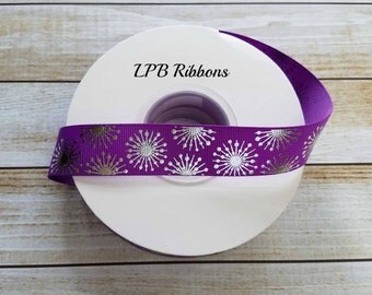 7/8 Purple Ribbon, Foil Ribbon, Burst Ribbon, Ribbon by the yard, US Designer Ribbon, Grosgrain Ribbon