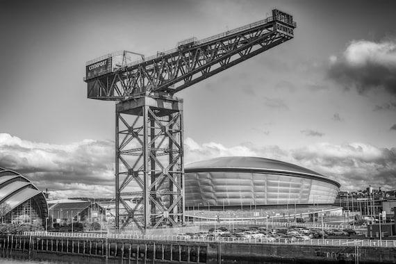Glasgow, Fine art photography print. Wall art. Wall decor. Contemporary art. Glasgow photography, The Hydro, Finnieston Crane, Stobhill