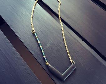 Chevron matte black beaded necklace, chevron necklace, v necklace