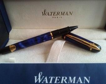 WATERMAN PHILEAS BLUE Márble Rollerball Pen, Vintage Waterman Phileas Blue Marble Pen, Rollerball Pen, Waterman Phileas Blue Rollerball Pen
