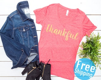 Thankful Shirt - Thanksgiving Shirt - Thanksgiving top, Give thanks top, Gobble Gobble Top