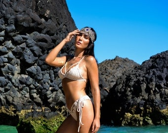 Caged Shipwrecked crochet Bikini top