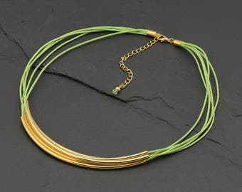 Casual Multi-Strand Necklace, Lime green