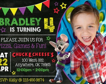 15% OFF FALL SALE! Chuck-E-Cheese Chalkboard Birthday Party Invitation with Photo!  Digital File, Print at Home