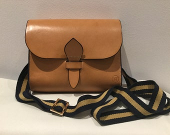 Tan Leather crossbody bag with stripe strap &  blue dyed edging