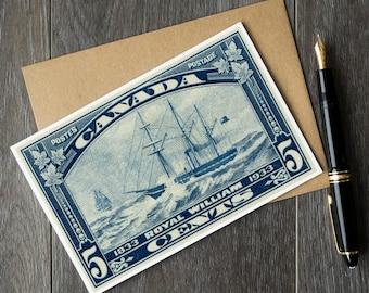sailing birthday card, wooden boat retirement card, Canadian sympathy card, Royal William ship, history teacher cards, teacher retirement