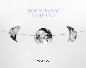 Moon Phase Garland | Star Garland | Room Decor Garland | Minimal Garland | Metallic Garland | FOLI + LO