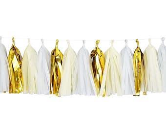 Ivory + White + Metallic Gold | Tassel Garland | Metallic Tissue Tassel Garland | FOLI + LO