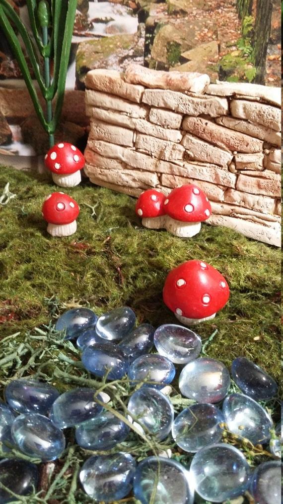 Fairy Garden Miniature Set Of Four Red Mushrooms Resin For
