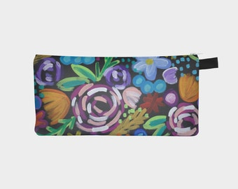 Flower Pencil Case, Floral Pencil Case, Zipper Pouch, Canvas Bag, Canvas Zipper Bag, Flower Power, Flower Canvas Bag, 9x4 Pencil Case