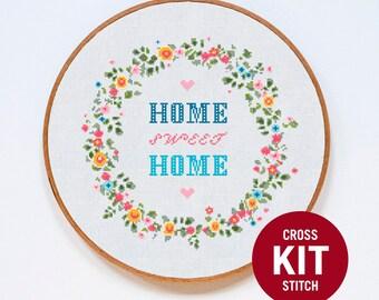 Home Sweet Home Cross Stitch KIT, Home Modern Cross Stitch Kit, Colorful Typographic Gift, Modern Counted Cross Stitch Pattern Instructions