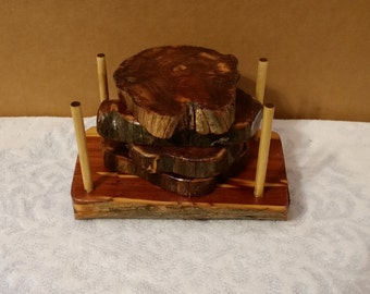 Set of 4 Cedar Coasters with Matching Stand- Recycled Forest Wood