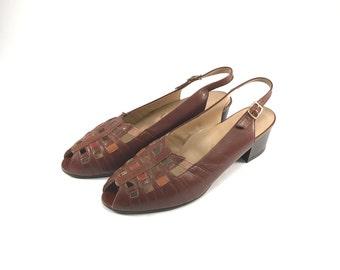 Vintage Women Sandals // Slingback Sandals // Brown Leather // 1980s