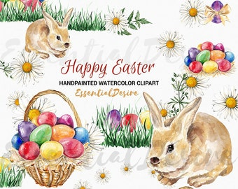 Watercolor Easter Clipart Eggs, Easter Basket Clip Art Egg Illustration, Bunny Grass Rabbit Spring DIY Easter Elements Easter Card Greetings