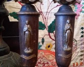 Deco Lourdes Virgin Mary candlesticks marble bases