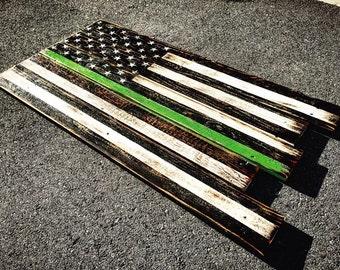 Reclaimed Military Green Line Flag
