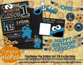 Cookie Monster/Cookie Birthday/CookieMonster Birthday/First Birthday/Sesame Street/Printable Invite