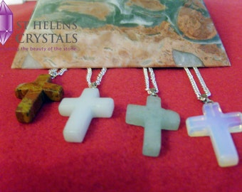 Crystal Jewellery-Crystal Cross, Natural Gemstone Pendant Healing Necklace by St Helens Crystals