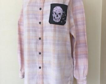 Upcycled Ombre Bleached Vintage Flannel Shirt w/Floral Skull Pocket