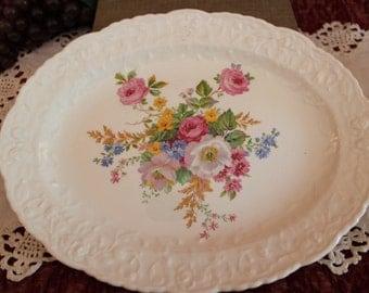 "Pope Gosser Oval 11.25"" Serving Platter - Rose Point Pattern with Floral Center, 5052"