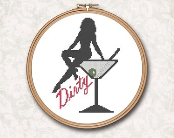 Black Silhouette Pin Up Girl on a  Dirty Martini Glass with Olive Counted Cross Stitch Pattern - PDF Digital Download