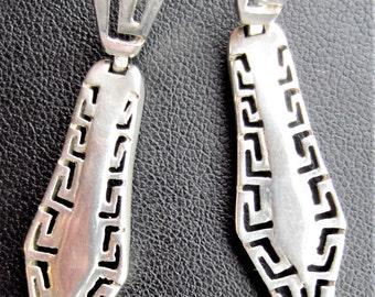 Solid Silver Art Deco Style Drop Earrings
