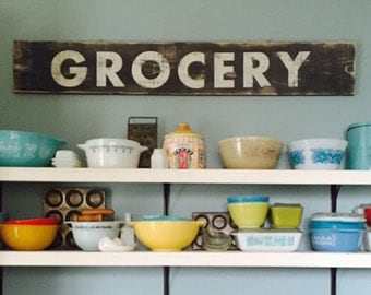 Grocery Wooden Sign, Grocery Wood Sign, Wood Grocery Sign, Fixer Upper Sign, Farmhouse Kitchen Sign, Farmhouse Pantry Sign
