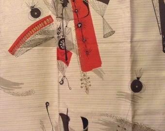 Vintage Mid-Century Barkcloth Era Drapery Fabric Over One Yard