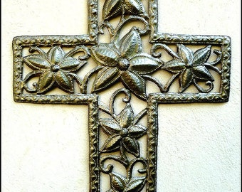 Metal Cross Wall Hanging - Cross Metal Wall Art - Floral Cross - Christian Cross Wall Decor - Haitian Metal Art - Christian Gift - W-131-19