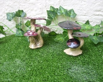 Handcrafted Ceramic Fantasy Triple set of joined Fairy Toadstool