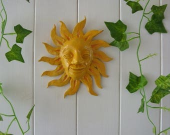 Hand Crafted Pottery Smiling Face Sun Garden Plaque Wall Hanging