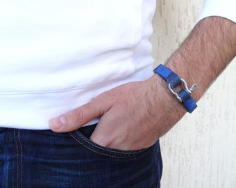 EXPRESS SHIPPING,Men's Blue Leather Bracelet,Chrome Screw Clasp Bracelet,Men's Jewelry,Leather Jewelry,Gifts for Him,Father's Day Gifts