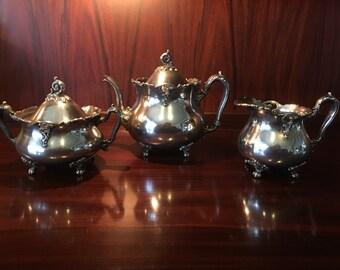 Victorian Art Nouveau Meriden Silver Plate Tea Set Quadruple Plate Circa 1890s