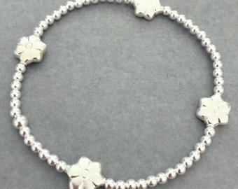Sterling Silver Flower Bead Charm Bracelet