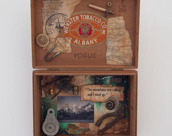 Assemblage Cigar Box - Mixed Media - Assemblage Art - Mountains