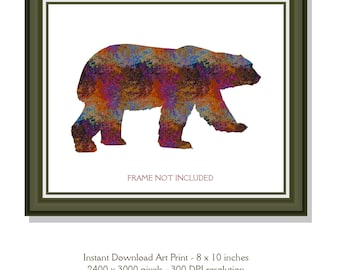 Instant Download 8 x 10 inch Silhouette Bear Poster Art Downloadable Print Abstract Printable Room Decor