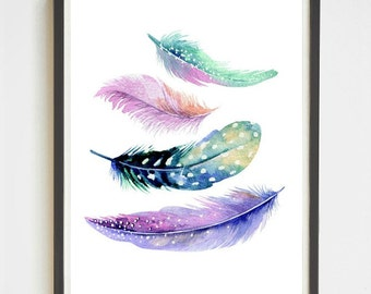 Feather Print | Printable Art | Apartment Decor | Gifts for Her | Wall Art | Feathers Poster | Watercolor Print | 18x24 Poster | Home Decor