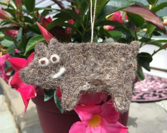 Needle Felted Pig Ornament, Pig Ornament, Needle Felted Pig Gift Tag, Pig Gift Tag, Pig Decoration