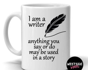 writers mug, funny mug, gift, personalized gift, journalist, bloggers, cool gift, feather, ceramic mug, coffee cups custom,create coffee mug