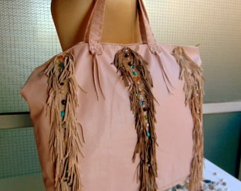 Leather Shoulder Bag.Native American Inspired.Large Shopper.Boho Fringed Leather.Handmade Bohemian. Beach.Fringes. Leather Handbags. Party.