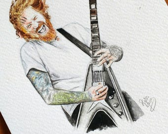 Brent Hinds of Mastodon - Watercolour Print - Approx 8x6 inch