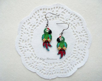 Parrot funny earrings illigers macaw handmade from polymer clay.