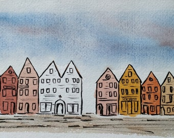 Bergen One, Ink and Watercolour Landscape Painting, Bergen, Norway, Art